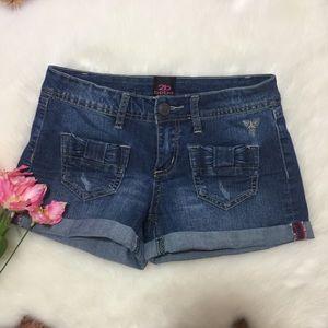 2B Bebe Jean Cuff Shorts